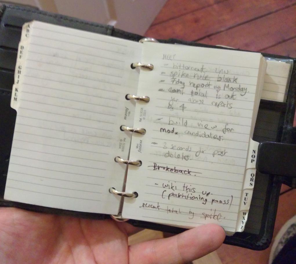 scribbled design notes